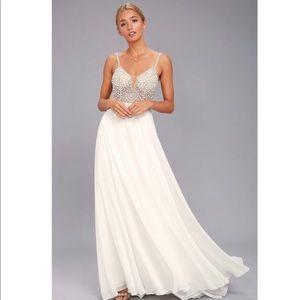 LULUS TRUE LOVE WHITE BEADED RHINESTONE MAXI DRESS